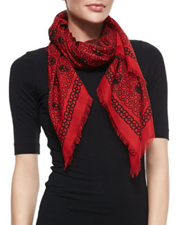 Alexander McQueen Grid Graphic Modal/Silk Shawl, Red/Black