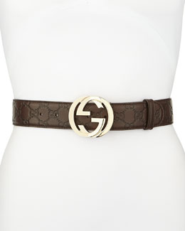 Gucci G-Adjustable Logo Leather Belt, Chocolate