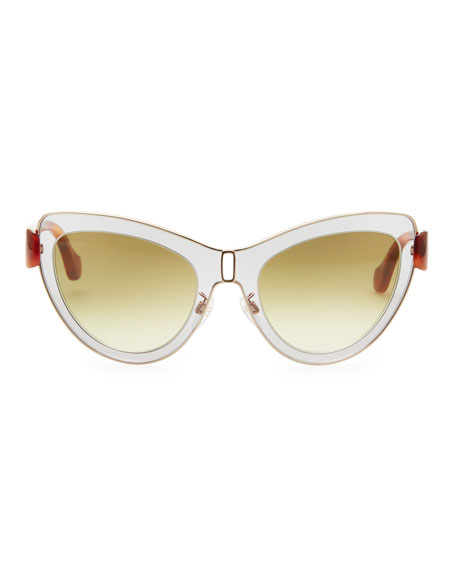 Cat-Eye Sunglasses, Light Gray/Rose Gold