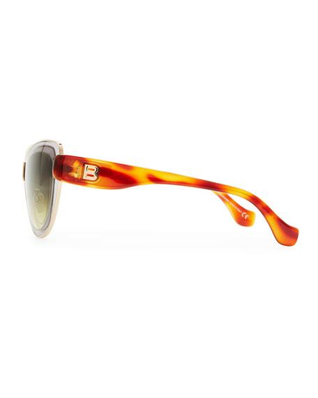 Cat-Eye Sunglasses, Light Gray/Rose Gold