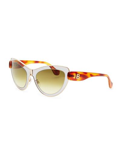 Balenciaga Cat-Eye Sunglasses, Light Gray/Rose Gold