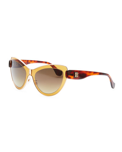Balenciaga Cat-Eye Sunglasses, Amber/Rose Gold