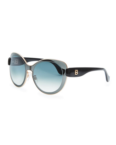Balenciaga Rounded Sunglasses, Smoke Gray/Black