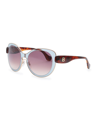 Balenciaga Rounded Sunglasses, Gray/Rose Gold