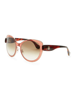 Balenciaga Rounded Sunglasses, Amber Granate Rose/Rose Gold