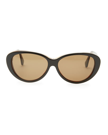 Oval Cat-Eye Sunglasses, Black/Havana