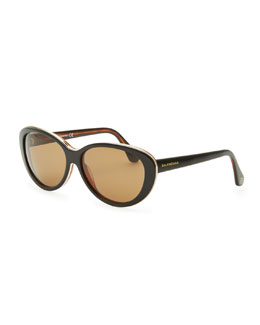 Balenciaga Oval Cat-Eye Sunglasses, Black/Havana