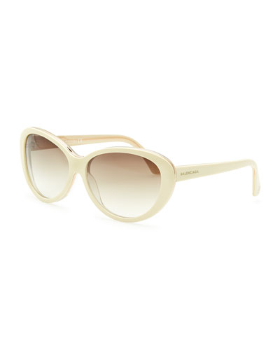 Balenciaga Oval Cat-Eye Sunglasses, Ivory/Crystal