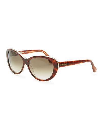 Balenciaga Oval Cat-Eye Sunglasses, Havana/Crystal
