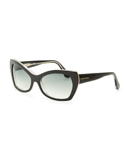 Balenciaga Rectangle Cat-Eye Sunglasses, Black/Crystal