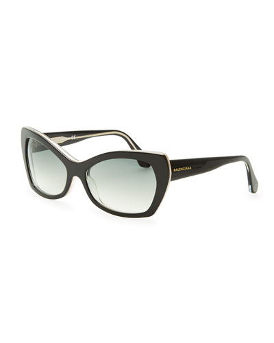 Balenciaga Rectangle Cat-Eye Sunglasses, Black/Crystal