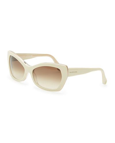 Balenciaga Rectangle Cat-Eye Sunglasses, Ivory/Crystal