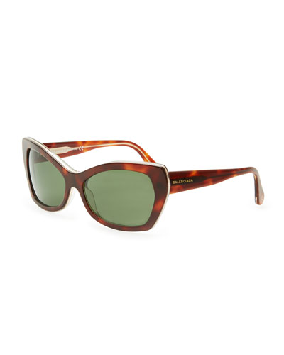 Balenciaga Rectangle Cat-Eye Sunglasses, Havana/Green