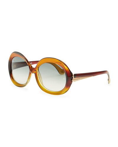 Balenciaga Oversized Round Sunglasses, Transparent Brown Gradient