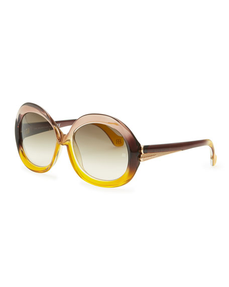 Balenciaga Oversized Round Sunglasses, Transparent Sand/Amber Gradient