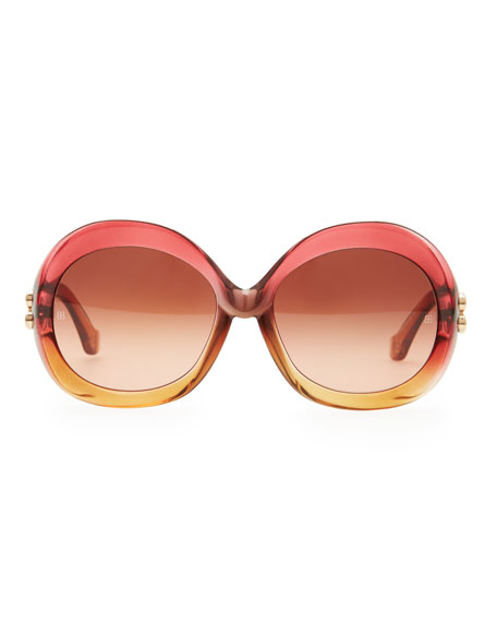 Oversized Round Sunglasses, Transparent Red/Amber Gradient