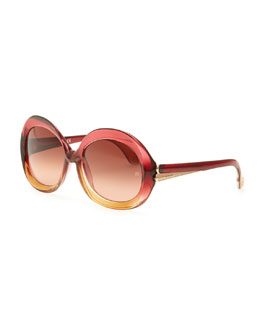 Balenciaga Oversized Round Sunglasses, Transparent Red/Amber Gradient