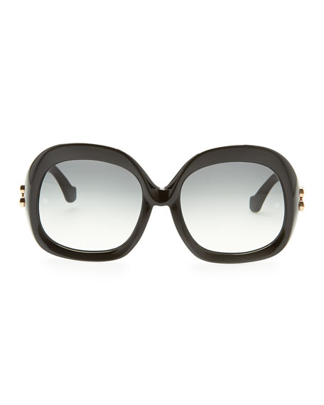 Oversized Square Sunglasses, Black
