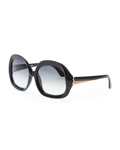 Balenciaga Oversized Square Sunglasses, Black