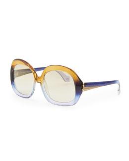 Balenciaga Oversized Square Sunglasses, Champagne/Violet