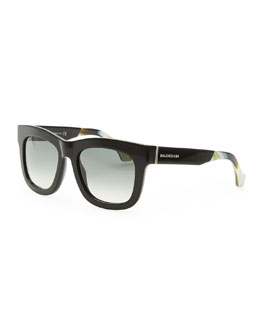 Balenciaga Square Sunglasses, Black/Yellow Buffalo Horn