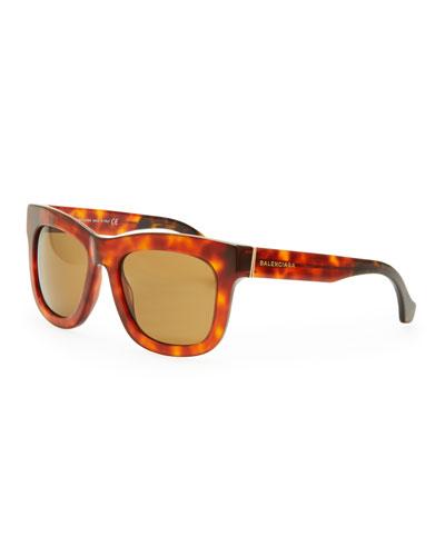 Balenciaga Square Sunglasses, Light/Dark Havana