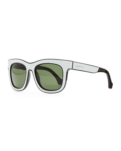 Balenciaga Cracked Square Sunglasses, White/Black