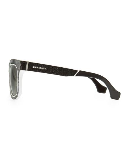 Cracked Square Sunglasses, Black/White
