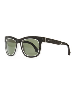 Balenciaga Cracked Square Sunglasses, Black/White