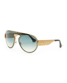 Balenciaga Transparent Aviator Sunglasses, Smoke