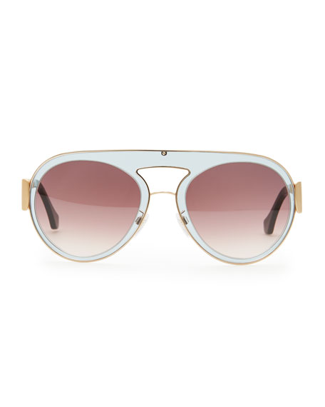 Transparent Aviator Sunglasses, Gray/Purple