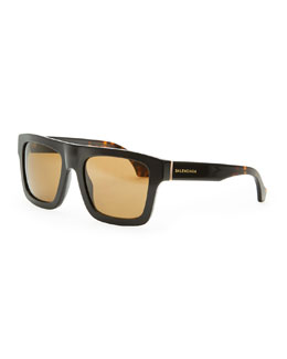 Balenciaga Square Straight-Brow Acetate Sunglasses, Black/Brown Havana