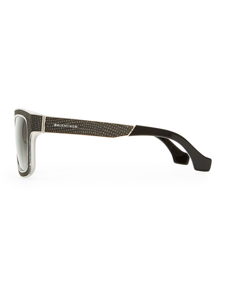 Square Straight Brow Lizard-Embossed Sunglasses, Opal Light Gray