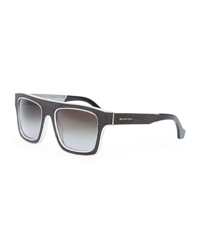 Balenciaga Square Straight Brow Lizard-Embossed Sunglasses, Opal Light Gray