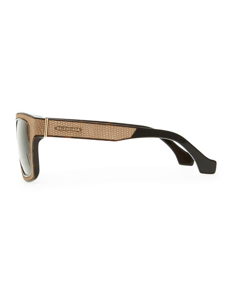 Square Straight Brow Lizard-Embossed Sunglasses, Dark Havana/Brown