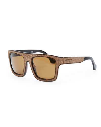 Balenciaga Square Straight Brow Lizard-Embossed Sunglasses, Dark Havana/Brown