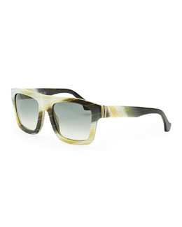 Balenciaga Square Straight-Brow Acetate Sunglasses, Yellow Faux Buffalo Horn