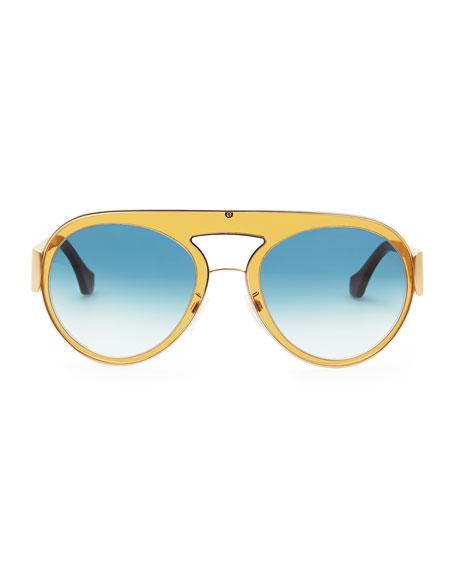 Transparent Aviator Sunglasses, Amber/Blue