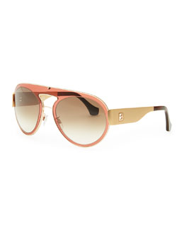 Balenciaga Transparent Aviator Sunglasses, Granate Rose/Brown