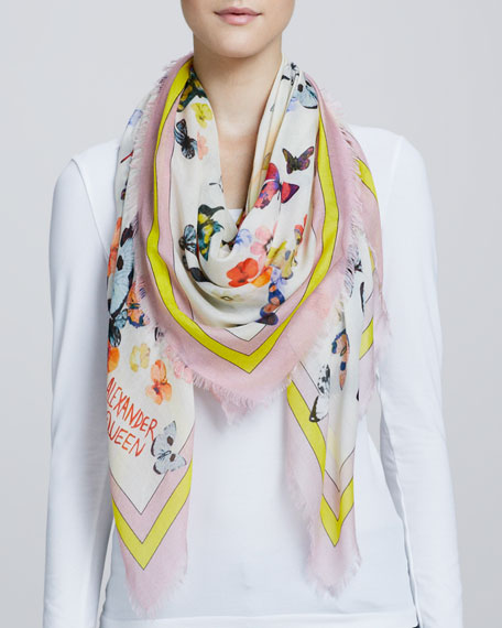 Butterfly-Print Fringe Scarf, Pink