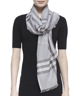 Burberry Giant Check Gauze Scarf, Pale Gray