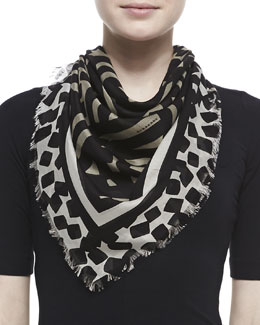 Burberry Graphic Stripe Voile Scarf, Tan/Black