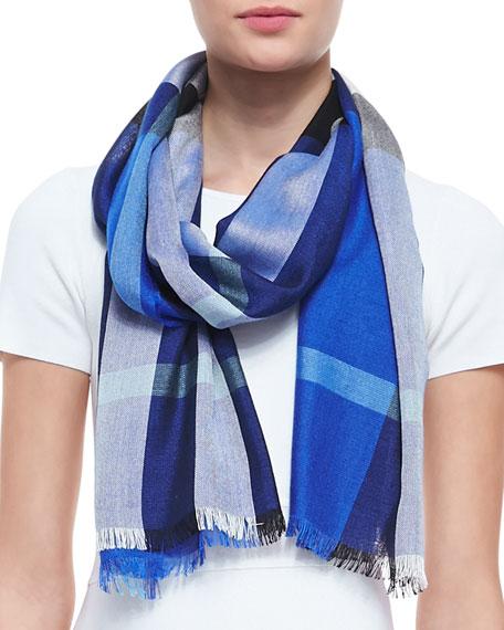 Check Silk-Cashmere Scarf, Cobalt