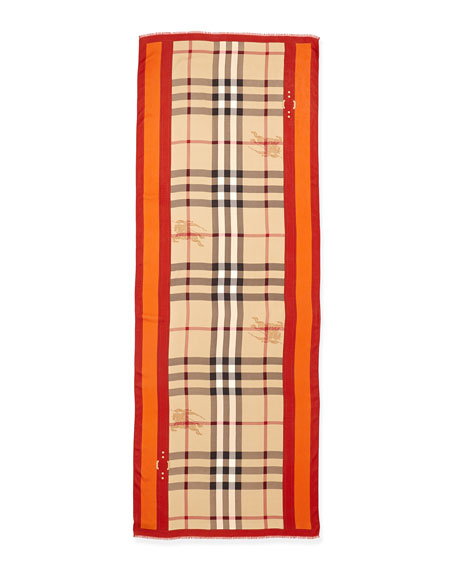 Check Scarf with Border & Equestrian Knight, Camel/Orange