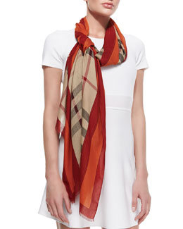 Burberry Check Scarf with Border & Equestrian Knight, Camel/Orange