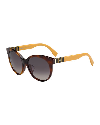Fendi Striped-Temple Enamel Sunglasses, Havana Brown