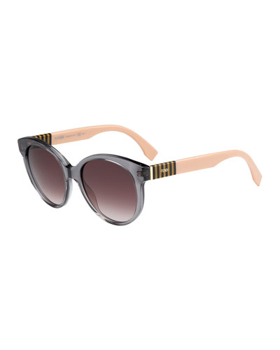 Striped-Temple Enamel Sunglasses, Gray/Brown