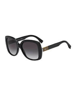 Fendi Striped-Temple Havana Butterfly Sunglasses, Black/Gray