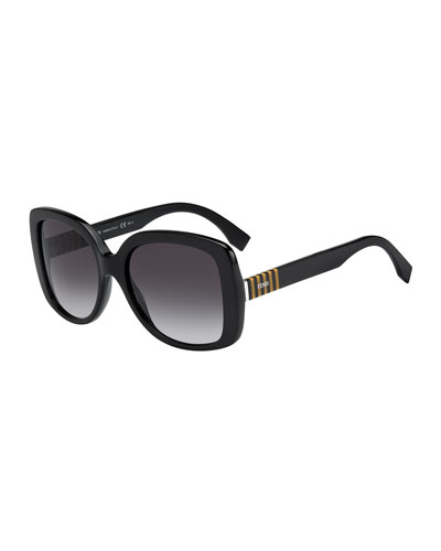 Striped-Temple Havana Butterfly Sunglasses, Black/Gray