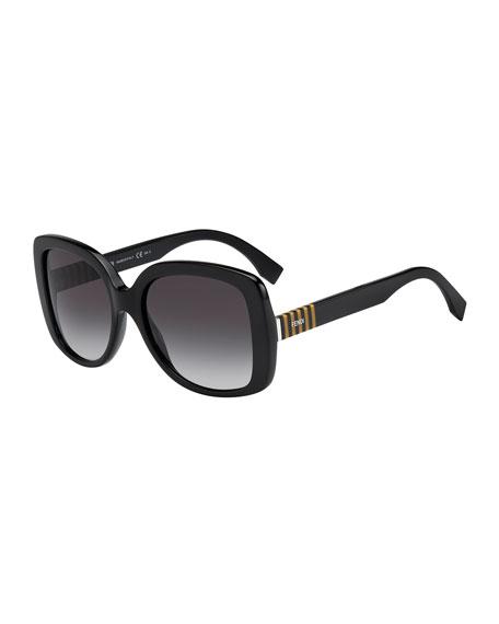 Striped-Temple Havana Butterfly Sunglasses, Black/Gray